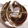 Crown Trifari Gold Swirl Retro Mod Brooch Vintage Mid Century 1940s Designer Fashion Jewelry Gift