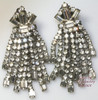Weiss Double Layer Crystal Rhinestone Haute Couture Earrings Vintage Mid Century 1940s Designer Fashion Jewelry Gift