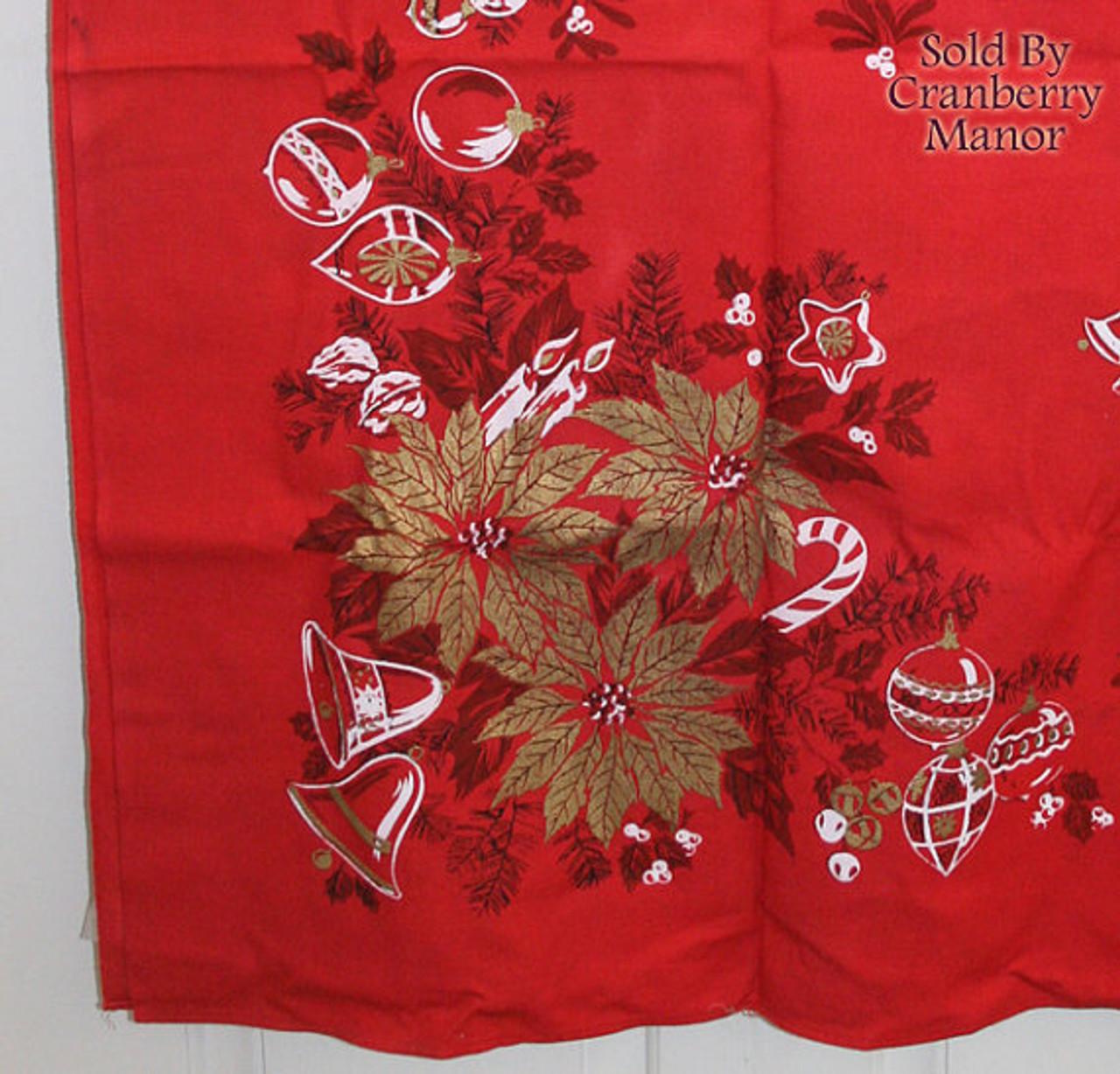 Parisian Prints Christmas Red U0026 Gold Poinsettia Tablecloth Vintage Mid  Century 1950s Designer Linens Gift