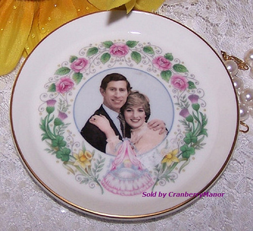 Princess Diana Prince Charles Prince William Commemorative Birth Coaster Dish by Crown Staffordshire England Vintage 1980s English Royalty Designer Gift