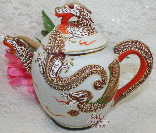 Dragonware Moriage Creamer & Lid from Japan Handpainted Gold Overlay Dragon Vintage Mid Century 1950s Japanese Designer Gift