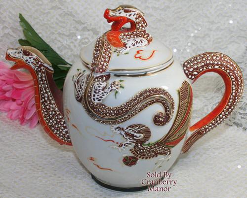 Dragonware Moriage Tea Pot & Lid from Japan Handpainted Gold Overlay Dragon Vintage Mid Century 1950s Japanese Designer Gift