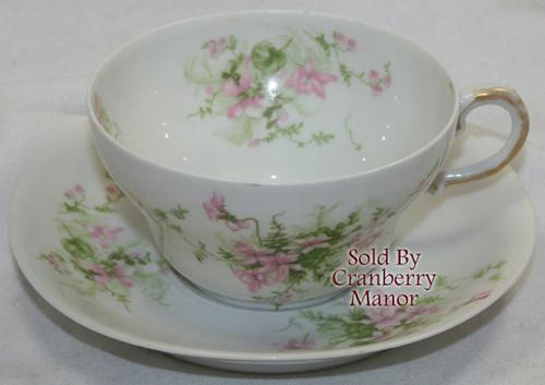 Antique Theodore Haviland Limoges France Pink Tea Cup & Saucer Vintage 1910s French Designer Gift