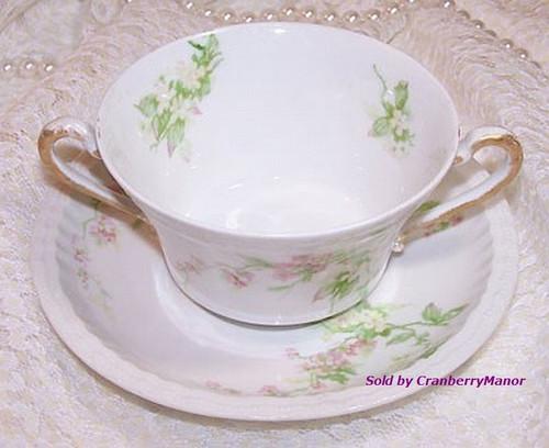 Haviland Limoges France 2 Handled Cream Soup Bowl & Plate Vintage 1920s French Designer Gift