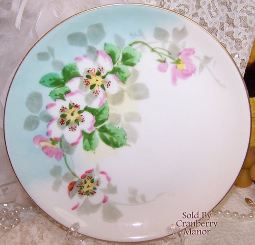 Antique Pink Flower Plate by Hutschenreuther Selb Bavaria Germany Stouffer Dish Vintage 1910s German Designer Gift