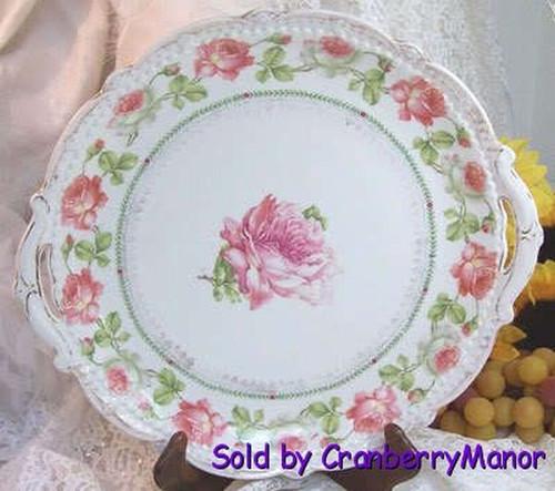 Antique Rose Cake Plate by Moritz Zdekauer Austria Dish/Platter Vintage 1900s Austrian Designer Gift