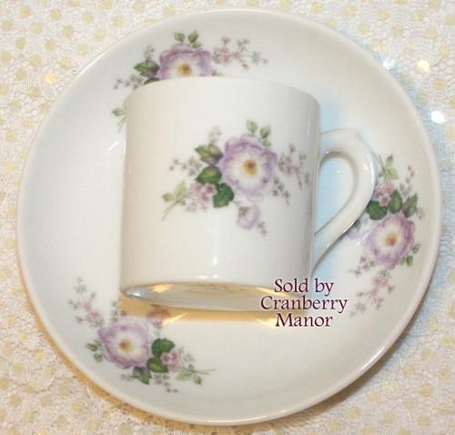 Demitasse Tea Cup & Saucer by VA Vista Alegre for Mottahedeh Portugal Vintage Mid Century 1960s Portuguese Designer Porcelain Gift Purple