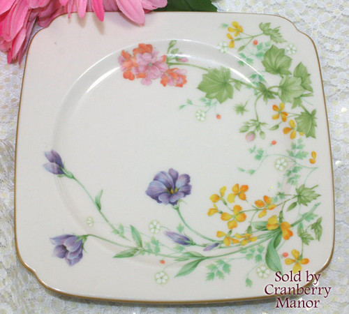 Noritake Nippon Toki Japan Square Cake Plate or Bread & Butter Dish Vintage Mid Century 1960s Japanese Designer Gift