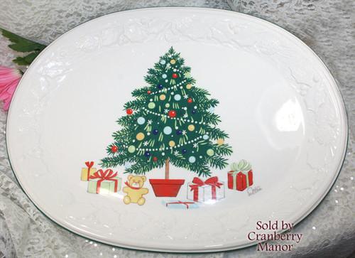 Christmas Tree Platter by Saltera for Himark Japan Winter Holiday Plate Family Dinner Dish Vintage 1980s Japanese Designer Gift