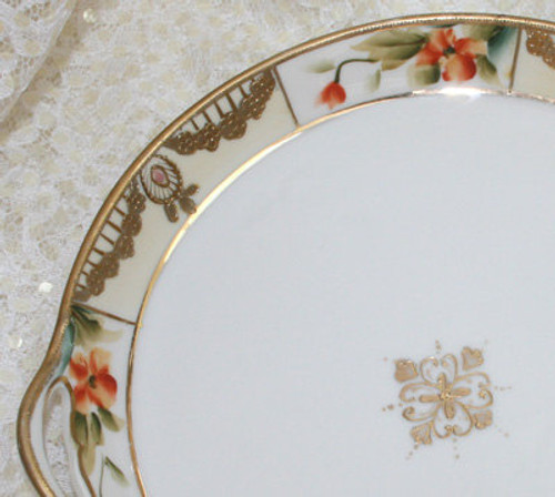Antique Noritake Nippon Japan Gold & Orange 2 Handled Bowl Vintage 1910s Japanese Designer Gift