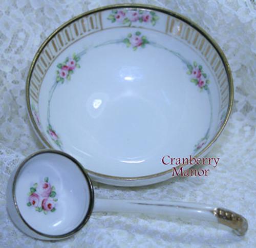Noritake Nippon Japan Pink Rose Mayo Bowl w/Ladle Mayonnaise Dish Vintage 1930s Japanese Designer Gift
