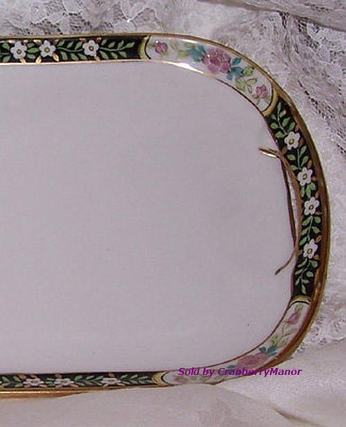 Antique Nippon Japan Sandwich or Vanity Tray Black & Pink Rose Platter Vintage 1910s Japanese Designer Gift