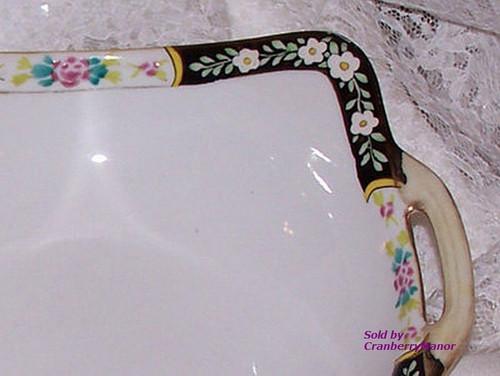 Antique Nippon Japan Casserole Bowl in Black w/ Pink Rose Vintage 1910s Japanese Designer Gift