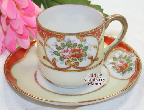 Occupied Japan Rose & Moriage Demitasse / Tea Cup & Saucer Vintage Mid Century 1940s Japanese Designer Post War Years Gift