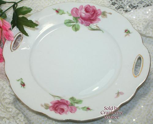 Antique Pink Rose Cake Plate by Oscar Schaller Zeh Scherzer Bavaria Germany Vintage 1910s German Designer Gift
