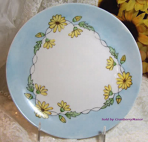 Antique Yellow Daisy Plate by Rosenthal Selb Bavaria Germany Handpainted German Studio Dish Vintage 1910s Designer Gift