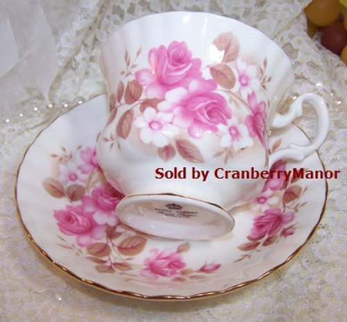 Royal Albert Rose Tea Cup & Saucer from England Vintage Mid Century 1950s English Designer Fine Bone China Gift