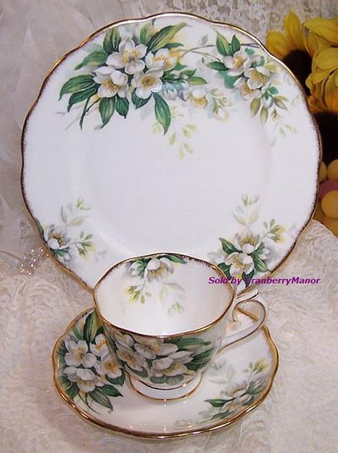 Royal Albert Orange Blossom Tea Cup, Saucer & Plate Trio from England Vintage Mid Century 1950s English Designer Gift