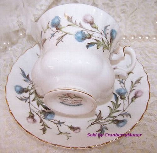 Royal Albert Brigadoon Tea Cup & Saucer from England Vintage 1980s English Designer Fine Bone China Gift
