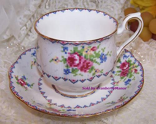 Royal Albert Petit Point Tea Cup & Saucer from England Vintage 1970s English Designer Fine Bone China Gift