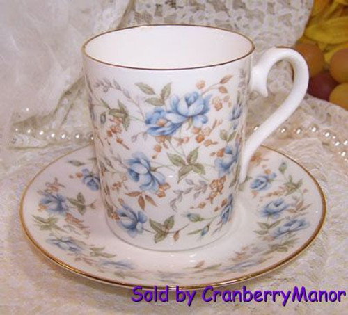 Royal Albert Blue Gown Rose Chintz Tea Cup & Saucer from England Vintage 1980s English Designer Fine Bone China Gift