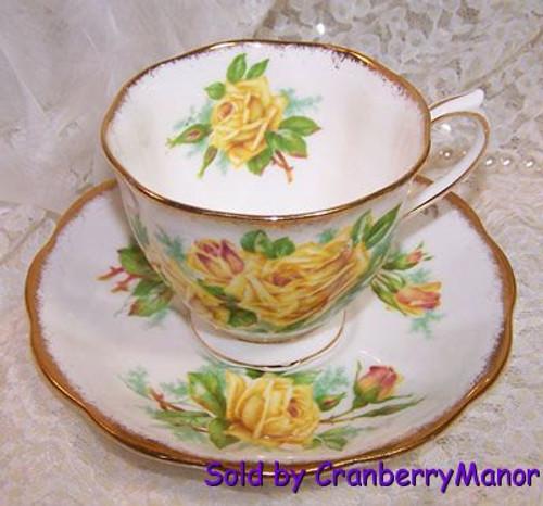 Royal Albert Yellow Tea Rose Cup & Saucer from England Vintage Mid Century 1950s English Designer Fine Bone China Gift