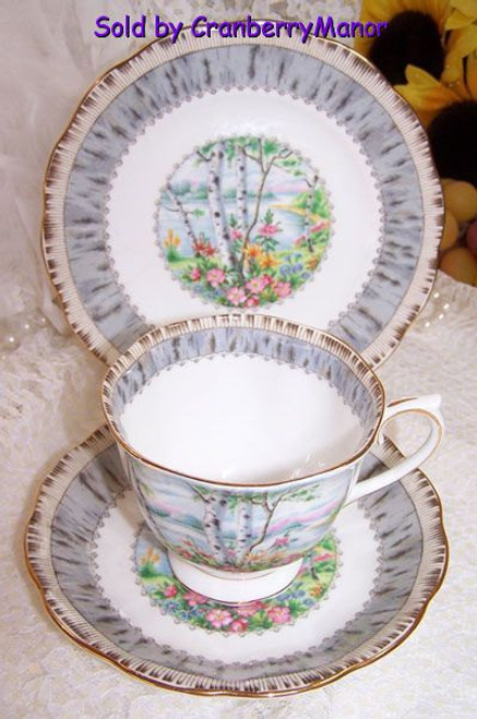 Royal Albert Silver Birch Tea Cup, Saucer & Plate Trio from England Vintage Mid Century 1950s English Designer Gift