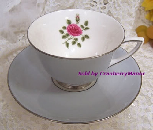 Royal Doulton Chateau Rose #H4940 Footed Tea Cup Saucer from England Vintage Mid Century 1960s English Designer Fine Bone China Gift