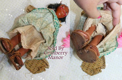 Oil Cloth & Wood Toy Doll Mexican Cultural Souvenir Vintage Mid Century 1950s Mexico Folk Art Gift
