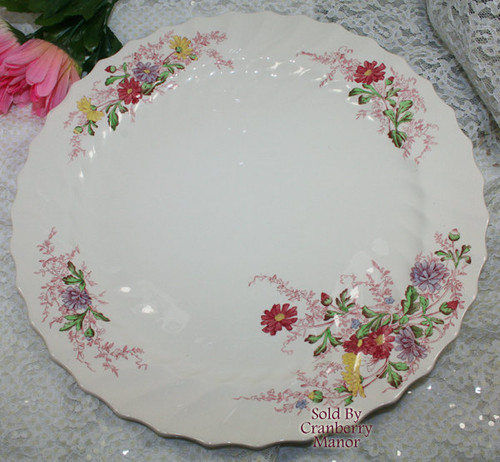 """Fairy Dell 13"""" Round Chop Plate by Copeland Spode England Vintage Mid Century 1950s English Designer Platter Dish Gift"""