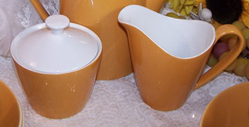 Goldenrod Mustard Yellow Cream & Sugar Set by Johnson Bros England Vintage 1950s Mid Century English Designer Gift