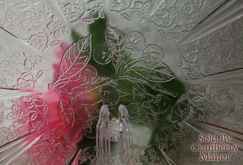 Pink Depression Glass Cake Plate in Cherry Blossom by Jeanette Vintage 1930s American Designer Gift