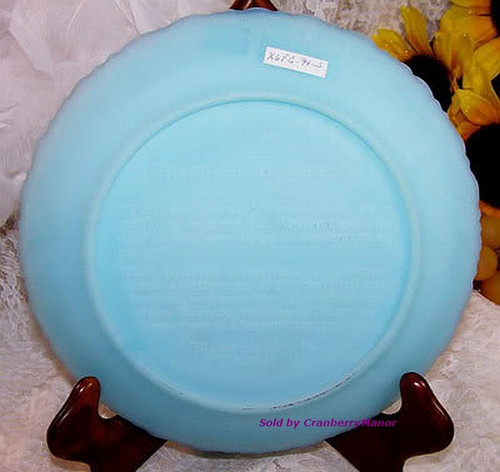 Fenton Art Glass Blue Satin Christmas In America Plate Old Brick Church Dish Vintage 1970s American Designer Gift