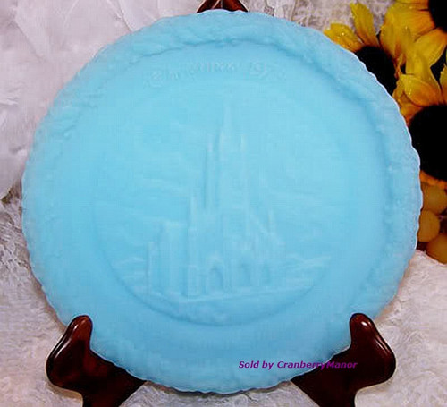 Fenton Art Glass Blue Satin Christmas In America Plate St. Mary's Mountains Vintage 1970s American Designer Gift