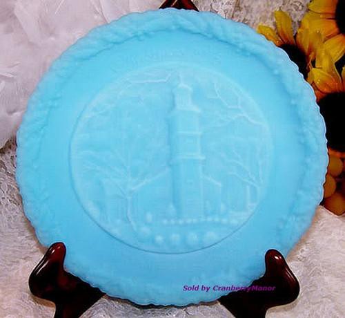 Fenton Art Glass Blue Satin Christmas In America Plate St John's Church Vintage 1970s American Designer Gift