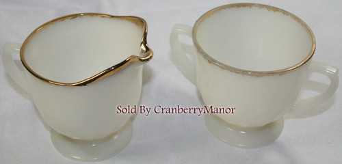 Milk Glass Cream & Sugar in Ivory Swirl Golden Anniversary by Fire King Anchor Hocking Vintage Mid Century 1950s American Designer Gift