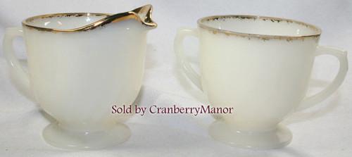 Milk Glass Cream & Sugar in Ivory Swirl Golden Anniversary by Fire King Anchor Hocking Vintage Mid Century 1950s American Designer Gift