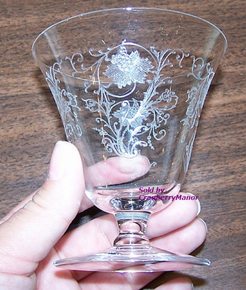 Fostoria Woodland Etched Cocktail or Oyster Glass Vintage 1920s American Designer Gift