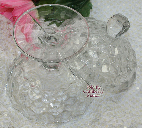 Fostoria American Glass Jam Jelly Cube Cubist Compote Comport w/ Lid Vintage Mid Century 1950s Designer Gift