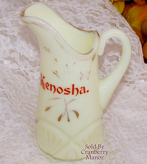 Antique Heisey Pineapple & Fan Custard Glass Pitcher Kenosha Wisconsin Souvenir Vintage 1900s Designer Gift