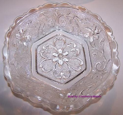 Indiana Sandwich Glass Hexagonal Cereal Bowl Vintage 1950s Mid Century American Designer Gift