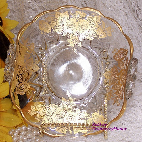 New Martinsville Viking Janice Bon Bon Dish w/ Silver Glass Co 22K Gold Queens Rose Overlay Vintage Mid Century 1940s Designer Gift