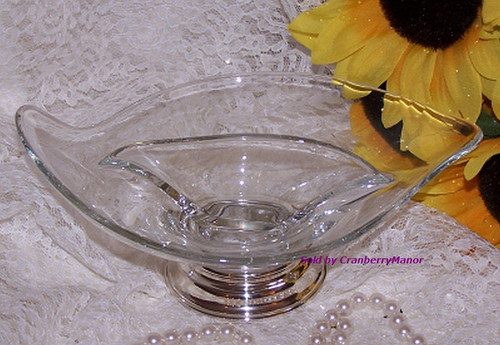Sterling Silver Epic Crystal Glass Bowl by Viking Glass & Wallace Vintage Mid Century 1960s American Designer Gift