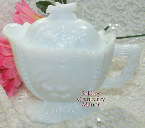 Westmoreland Paneled Cherry & Grape Milk Glass Creamer Vintage Mid Century 1960s American Designer Gift