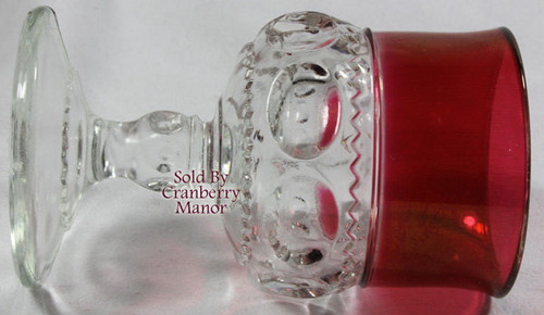 Indiana Tiffin King's Crown Thumbprint Ruby Red Water or Juice Glass Vintage 1970s American Designer Gift