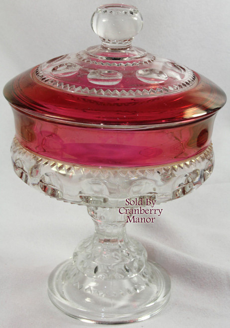 Indiana Tiffin King's Crown Thumbprint Ruby Red Glass Compote w/ Lid Vintage 1970s American Designer Gift