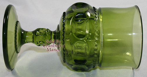 Indiana Tiffin King's Crown Thumbprint Avocado Olive Green Water Goblet Glass Vintage 1970s American Designer Gift
