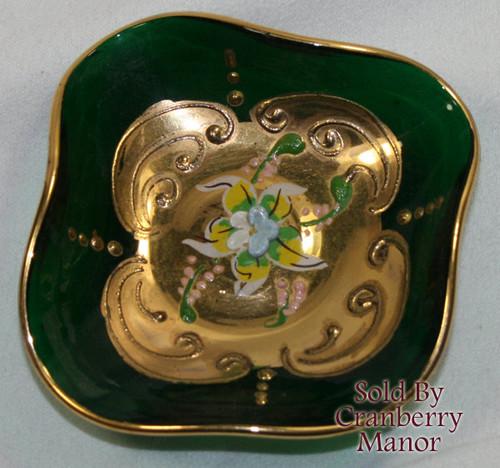 Bohemian Czech Italy Murano Emerald Green & Gold Open Salt Glass Dish w/ Enameled Flower Vintage Mid Century 1960s Italian Designer Gift