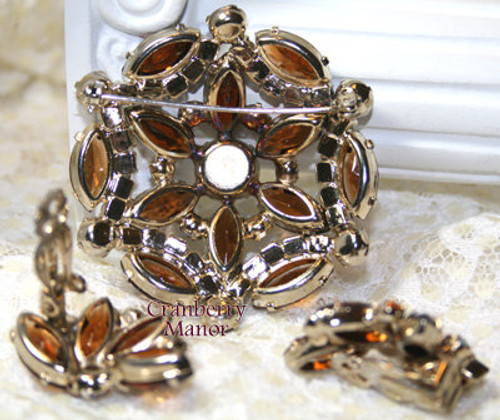 Smokey Topaz Rhinestone Brooch & Earrings Demi Parure Vintage 1980s Fashion Jewelry Gift
