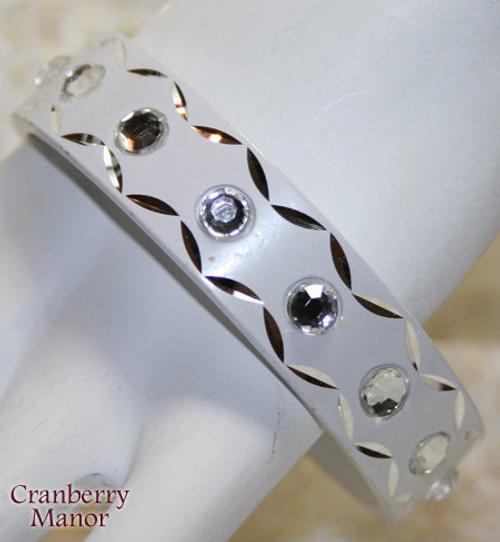 White & Crystal Rhinestone Bangle Bracelet Vintage 1980s Fashion Jewelry Gift